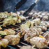 shishkabob being grilled on a grille