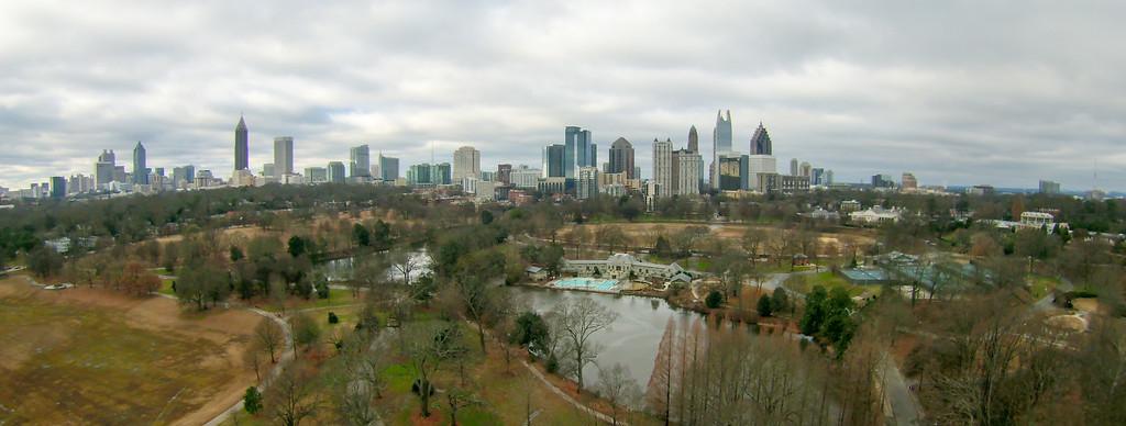 aerial view over park with atlanta city skyline georgia usa