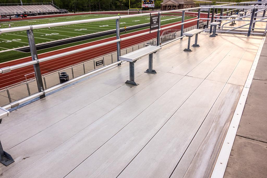 aluminum seating at a high school stadium
