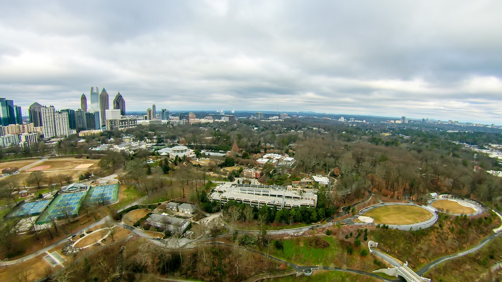 aerial view over park with atlanta city skyline georgia usa