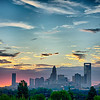 early morning sunrise over charlotte north carolina skyline