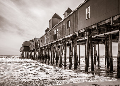 Pier at Old Orchard Beach B&W