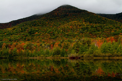 Fall foliage at 35% of peak color reflected in Equinox Pond, Manchester VT.