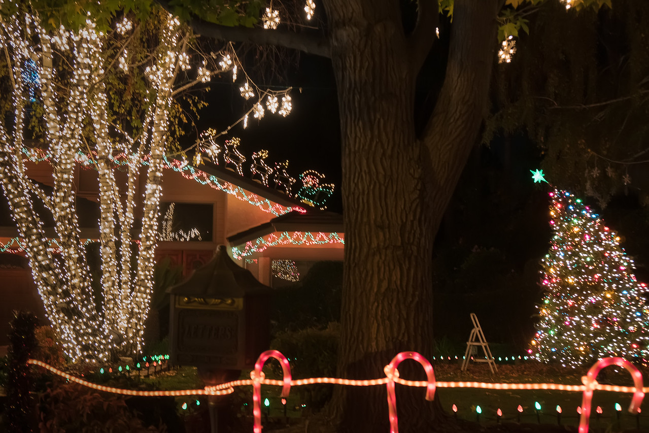 Getting the holiday lights set up on Thoroughbred Street