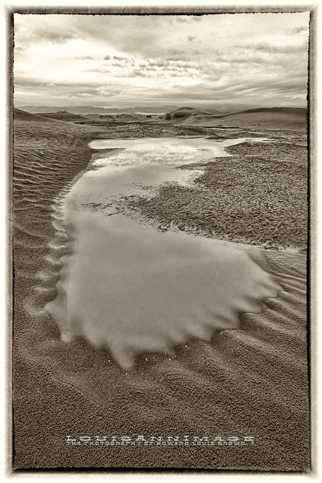 Water of Life...<br /> At dawn, a shallow pool of rainwater spreads across the hardpan floor of Mesquite Dunes, Stovepipe Wells, Death Valley National Park.<br /> In 1929, 1953 and 1989 no rain was recorded for the whole year in Death Valley!  As much as I'd have liked to shoot sunny weather in the Valley, I was actually glad to be challenged to find what only rain and soft light brings to an otherwise harsh environment during my two days here in December of 2014.