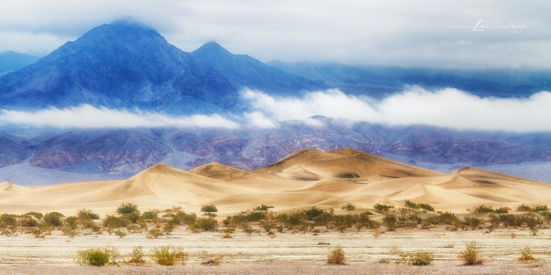 Death Valley Dunes ~ Daylight softly filters through full cloud cover to illuminate Death Valley's Mesquite Dunes.  The Grapevine Range sets the mood behind...  It rained the entire day before. Stovepipe Wells - Day Two - Death Valley National Park, California