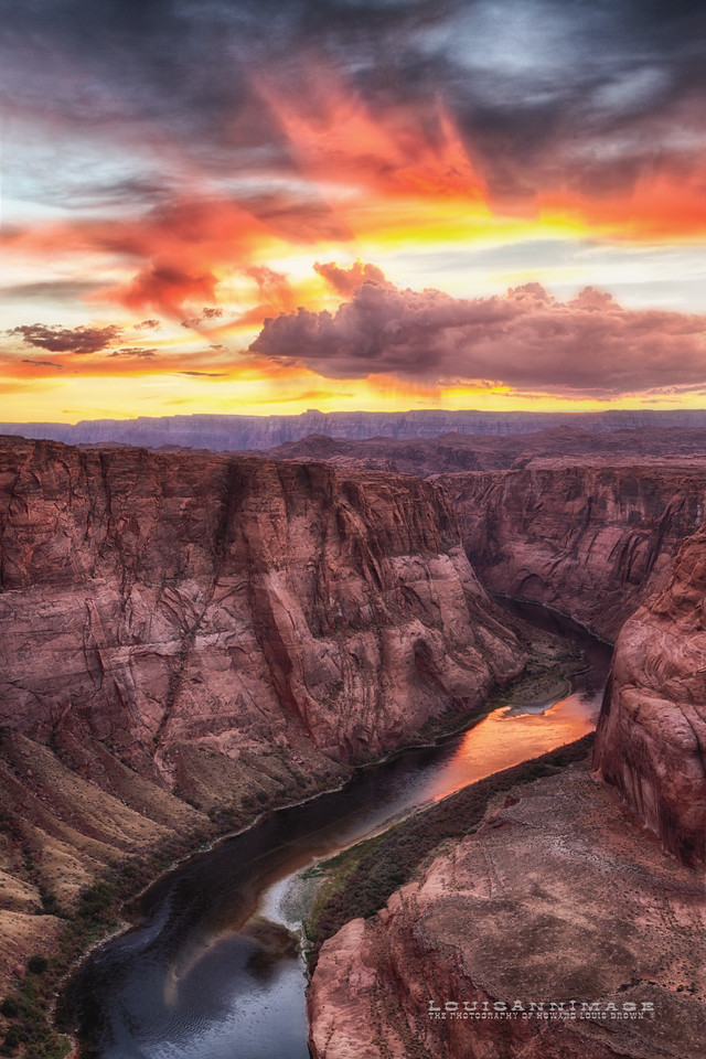 Clouds and Fire - Horseshoe Bend ~ Southern  Half.  Three Exposure HDR Set