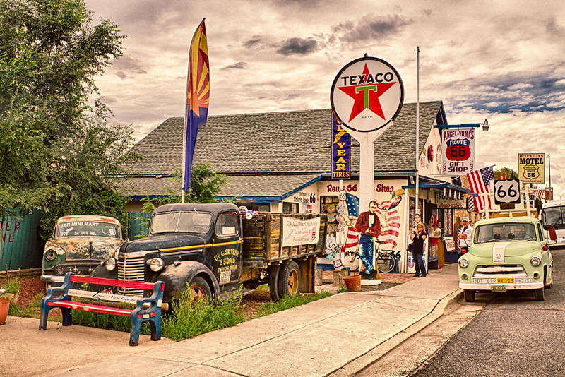 Angel & Vilma's - Rt 66, Seligman, Arizona.<br /> <br /> Known internationally as 'The Guardian Angel of Route 66,' every day, Angel Delgadillo, 86, bikes over to his barber shop / souvenir store after a mid-day nap to greet guests and sign a few autographs.  In 1987, just two years after Interstate 40 bypassed Seligman, Angel founded the Arizona Historic Route 66 Association.   Soon to follow, the remaining seven Route 66 States established similar organizations - all dedicated to rebuilding, preserving and continuing the legacy that is the Mother Road.