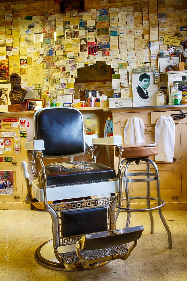 Angel Delgadillo's Barber Chair... Known internationally as 'The Guardian Angel of Route 66,' bikes over to his barber shop / souvenir store after a mid-day nap to greet guests and sign a few autographs.  In 1987, just two years after Interstate 40 bypassed Seligman, Angel, 86, founded the Arizona Historic Route 66 Association.   Soon to follow, the remaining seven Route 66 States established similar organizations - all dedicated to rebuilding, preserving and continuing the legacy that is the Mother Road.