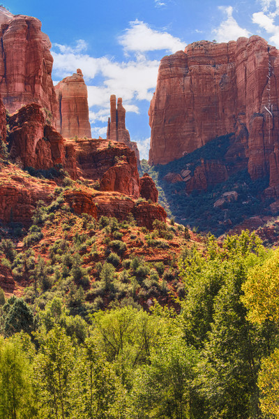 'Cathedral Rock - From the forest...' <br /> Red Rock State Park, Sedona, Arizona.  Not the iconic view shot while standing in the water of  Oak Creek Crossing... Rather we walked into the meadow to the north and found a forested foreground we liked. Note: If you venture to Sedona seeking to shoot Cathedral Rock from the Crossing, make plans for an evening shoot.  Yes, the park closes well before sundown and you may have to be creative, but the Cathedral will be front lit and your sky's behind will be darker.  And if you go in the fall rainy season, you may be rewarded with some rainbow action.. A three exposure compilation. Canon 7D, 1/250 s, 1/125 s, 1/60 s @ f/10, ISO 100 EF70-200mm f/2.8L IS II USM @ 70 mm.<br /> PS5 Raw, NIK HDR Efex Pro 2 - Custom Profile, NIK Viviza selective adjustments to recover hidden backlit earth tones.