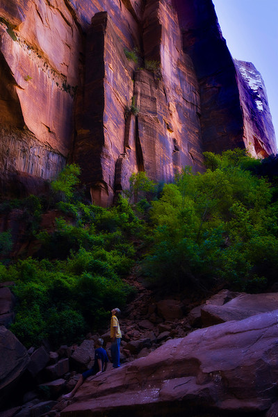 Young hikers marvel at the face of Castle Dome - Upper Emerald Pool.  Zion National Park, Utah.