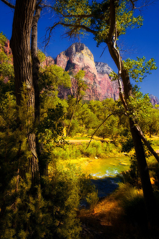 Dear Trap Mountain beyond the Virgin River - Zion National Park, Utah.