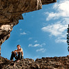 Rock climber along Grassi Lakes trail