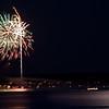 Madeline Island, WI, July 4 fireworks, moonlight