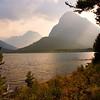 Sunset along Swiftcurrent Lake trail