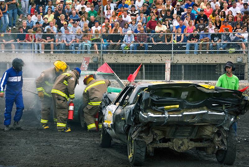 Demo derby, firemen at work