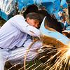 Brown County Fair, New Ulm, MN, demolition derby, fender repair