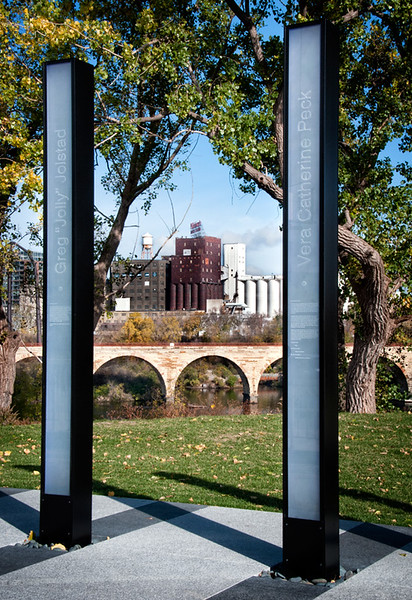View from I-35W Memorial, including Stone Arch Bridge and Pillsbury A Mill