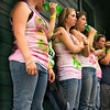 Demo derby, spectators in pink