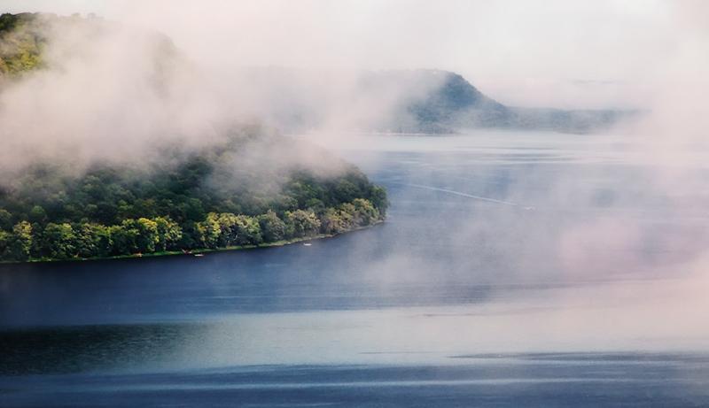 Fog lifting over Lake Pepin (Mississippi River)