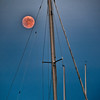 Moon rising over Camden harbor