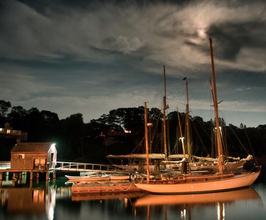 Moonlit boats on Rockport Harbor