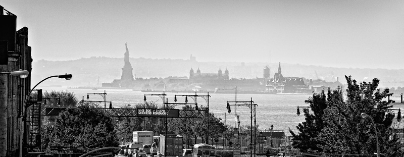 Statue of Liberty and Ellis Island, viewed from High Line Park