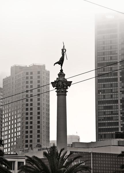 Union Square, foggy day
