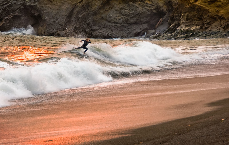Surfer, Rodeo Beach, Marin Headlands, California