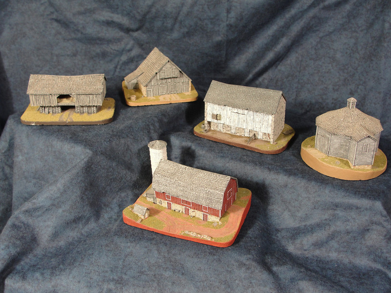 American Barn Series - Researched, designed and created this five piece original series to capture our agricultural heritage. A great deal of attention is paid to a realistic portrayal of these aged structures of weathered wood and stone from various parts of the United States.