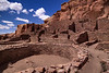 The kivas were situated in the central plazas and were a key element to every Chacoan community. They were covered with a roof supported by large beams. Entering the kiva through the center of the roof was symbolic of returning into the earth and the spirit realm.