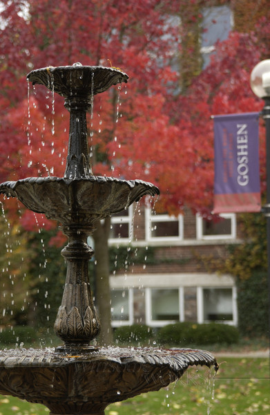 Antique fountain on main lawn - Goshen College, Goshen  Indiana