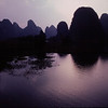 Limestone karsts at sunset in Guilin, China