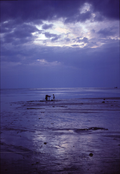 Mother and daughter on Koh Phang-an sandbar at dusk, finding shellfish