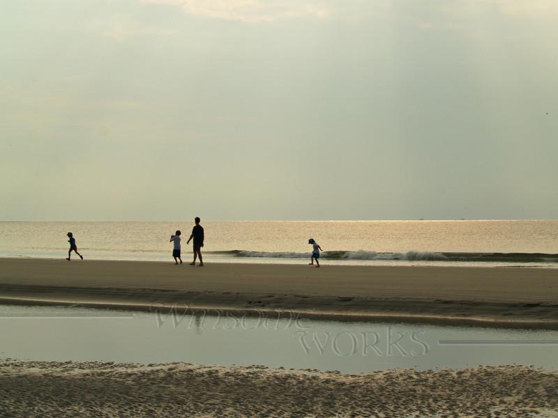 Family Enjoying Beach Walk - Hunting Island State Park, South Carolina