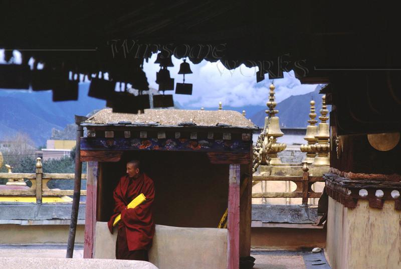 Tibetan Monk on Jokhang Rooftop; Lhasa