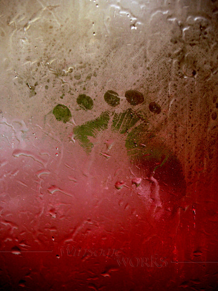 "Rainy Day Boredom-- child's ""footprint"" made with fist on window"