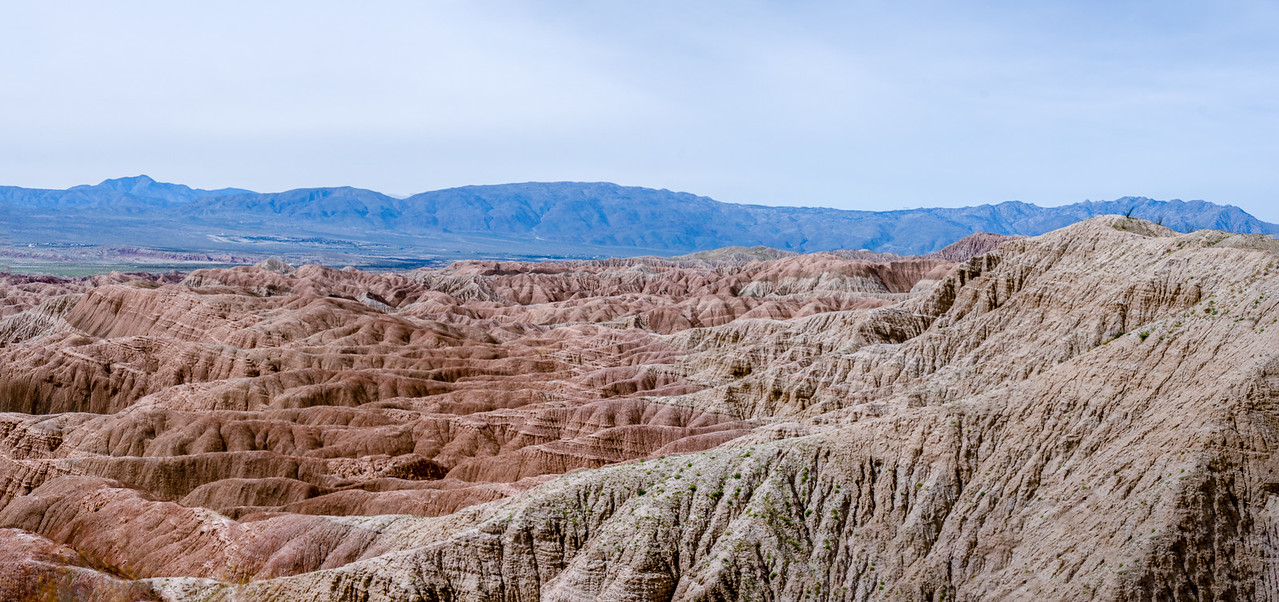 A panorama of the Anza-Borrego badlands