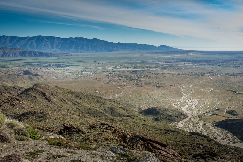 The view of Borrego Springs and beyond from Montezuma Valley Road