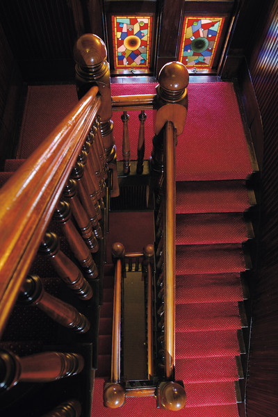 Carson Mansion, Eureka CA ,            Stairs from kitchen.