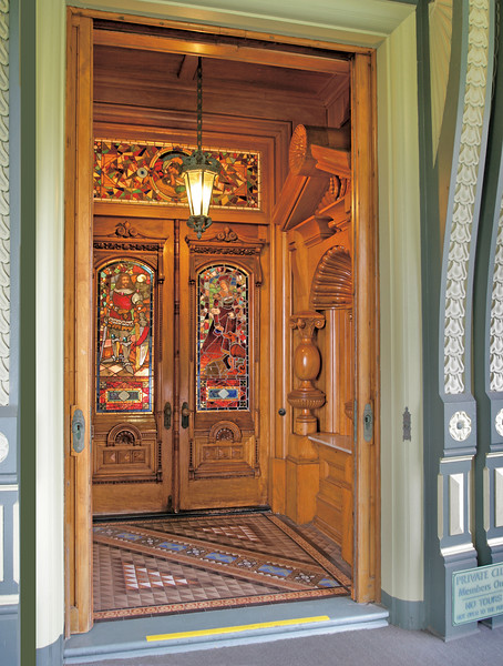 Carson Mansion, Eureka CA   Main entry doors to the mansion.