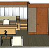 This project was a 7,300 square foot addition to an office building.  The construction documents were created using Autodesk AutoCAD software.  This rendering was done using SketchUp as a quick way to study the space and furniture placement in one of the offices.