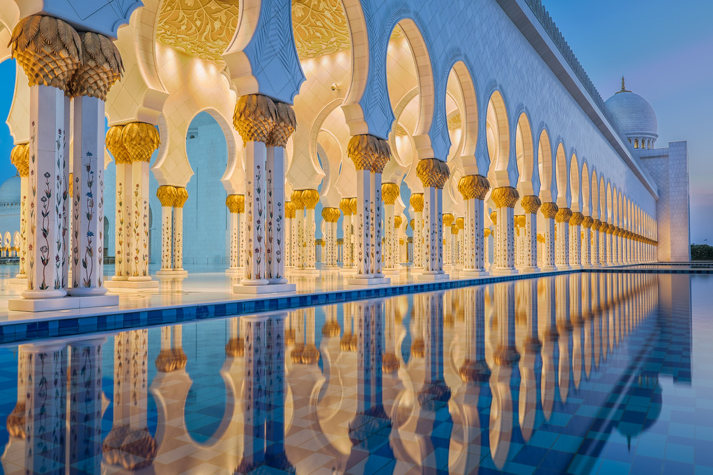 Wide-angle view on Abu Dhabi Grand Mosque