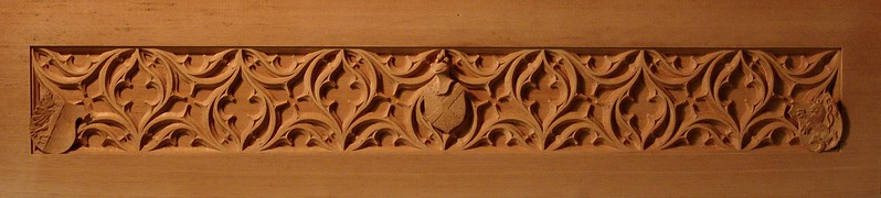 Gothic tracery for mahogany mantel