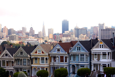 """Painted Ladies"" with downtown in the background in San Francisco California - © Simpson Brothers Photography"
