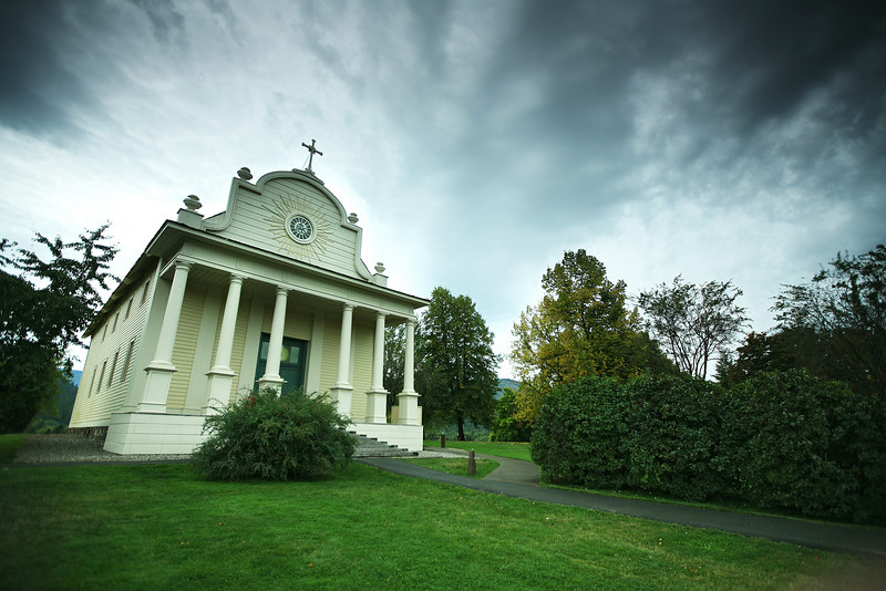 The Cataldo Mission at The Coeur d'Alene's Old Mission State Park in Cataldo, Idaho, is photographed on Monday, October 10, 2011. (Young Kwak Special to the Pacific Northwest Inlander)