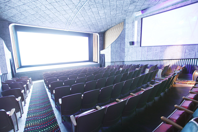 The main theater is photographed while trailers are projected, at the Roxy Theater in Newport, Wash., on Friday, July 20, 2012. (Young Kwak/The Pacific Northwest Inlander)