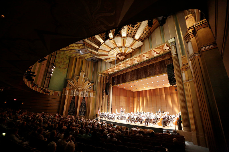 The Spokane Symphony performs at the Martin Woldson Theater at The Fox duriing a season opening performance in Spokane, Wash., Sunday, Sept. 10, 2017. (Young Kwak/The Inlander)