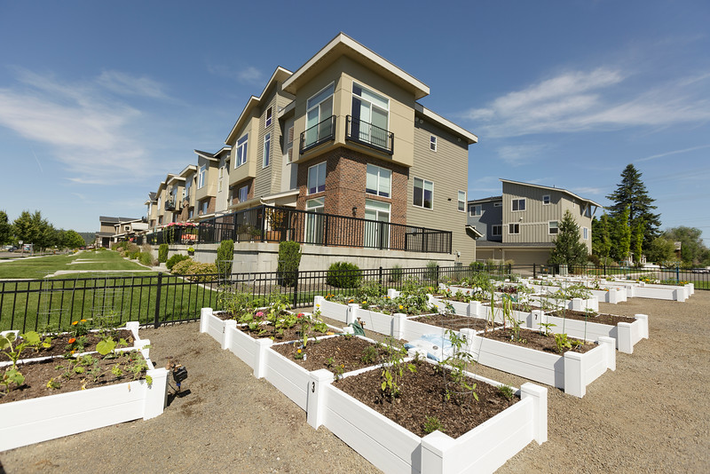 A garden in front of a townhouse building at Kendall Yards is photographed, Tuesday, June 9, 2015, in Spokane, Wash. (Young Kwak/Pacific Northwest Inlander)