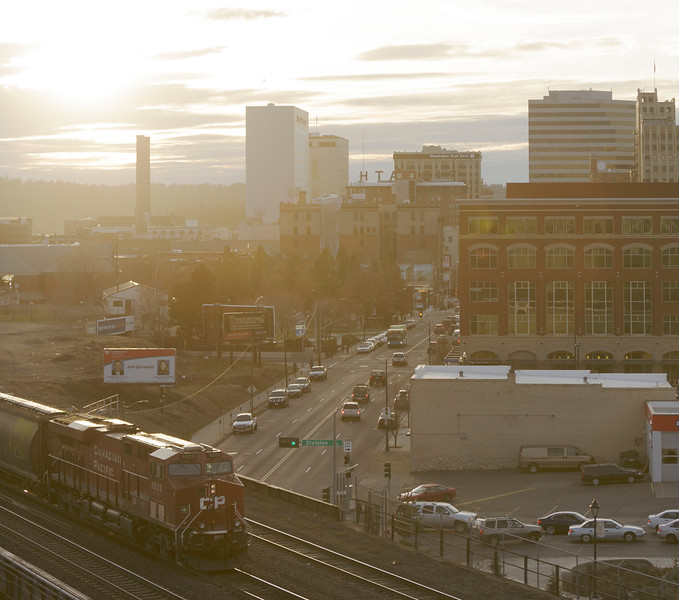 The view west from The Edge Lofts is photographed, Friday, March 4, 2016, in Spokane, Wash. (Young Kwak/Pacific Northwest Inlander)